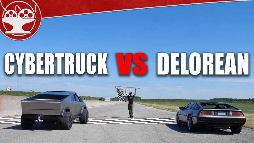 Tesla Cybertruck Vs DeLorean Drag Race: Electric Truck Tows, Does Donuts