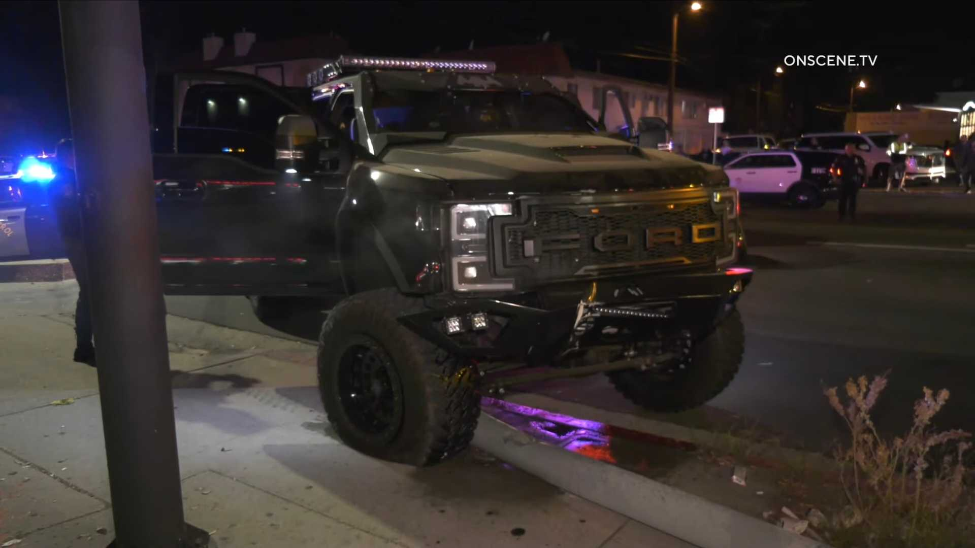 Watch Six Wheeled Pickup Police Pursuit End With Toppled Street Pole