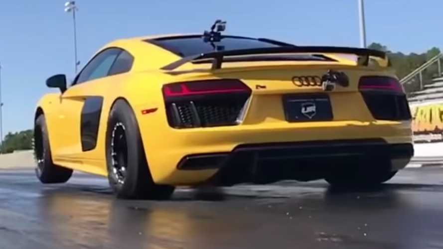 Twin-turbo Audi R8 pops a wheelie in record-setting quarter-mile run