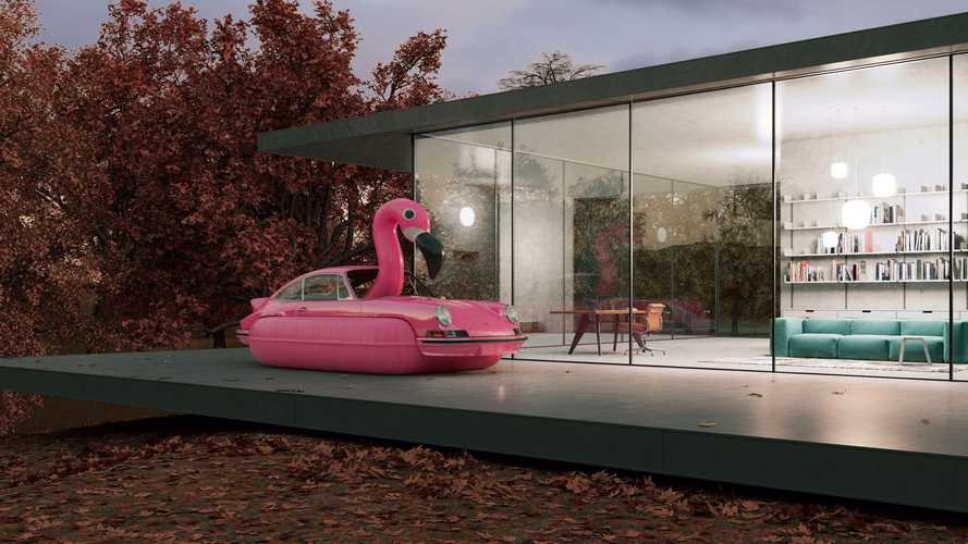 Surreal Porsche 911 art immortalizes the iconic car as... a flamingo?