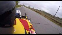 car reviewer rides pillion superbike