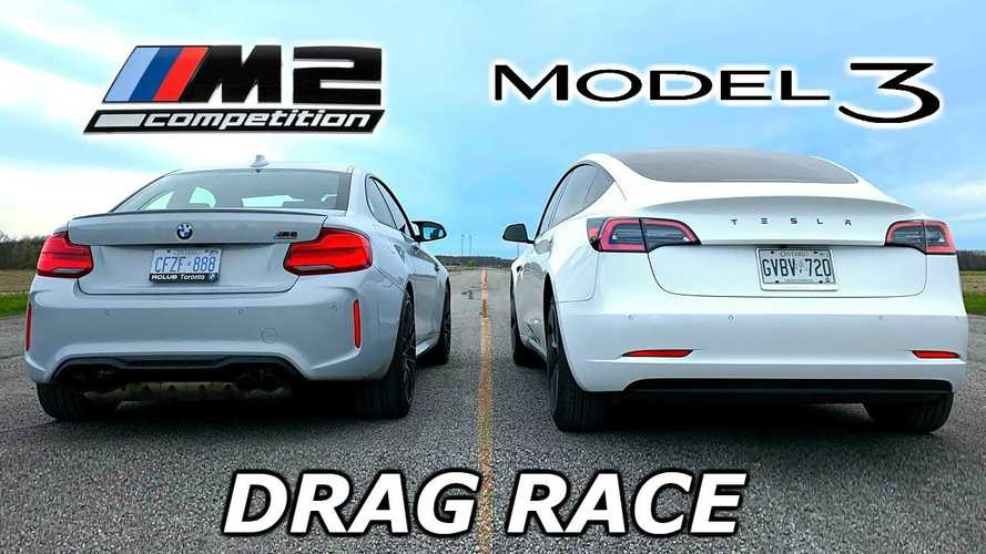 Watch Tesla Model 3 Race BMW M2 At The Strip: Video