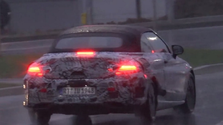 Mercedes-Benz C-Class Cabriolet spotted in motion on rainy day [video]