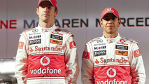 Jenson Button, Lewis Hamilton, Vodafone Mclaren Mercedes MP4-25 Launch, Vodafone UK HQ, Newbury, England, 29.01.2010