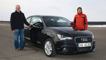 Audi A1, Audi Head of Chassis Development, Dr. Horst Glaser, with Audi DTM driver Markus Winkelhock 26.02.2010