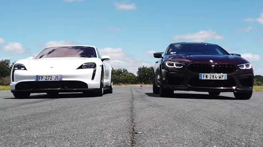 Porsche Taycan Vs BMW M8 Gran Coupe Drag Race Is Not Even Close