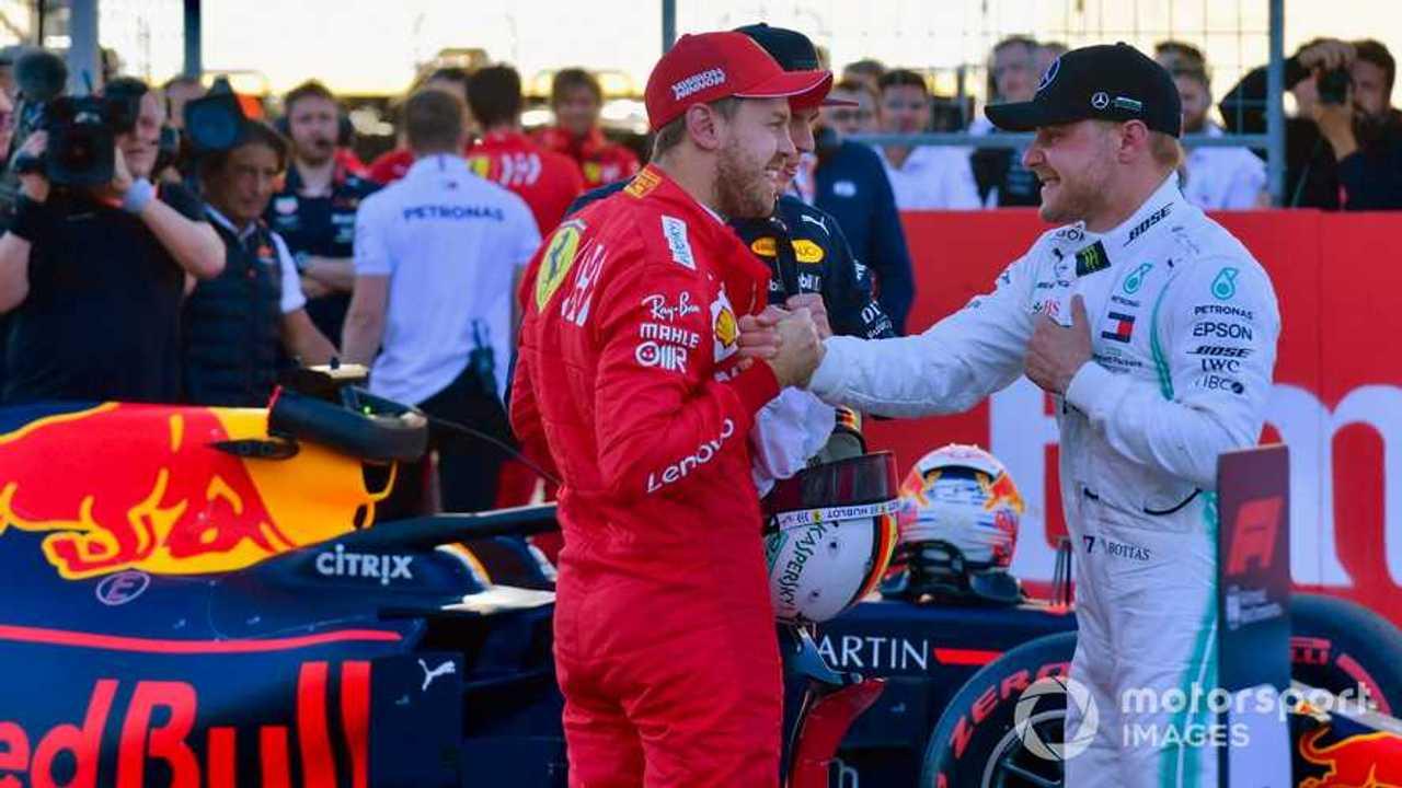 Sebastian Vettel congratulates Valtteri Bottas at US GP 2019