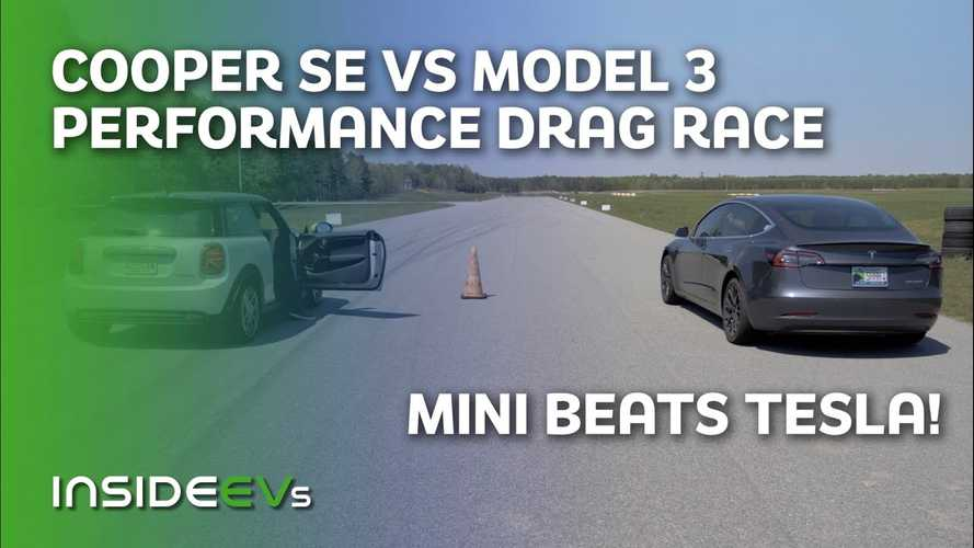 Watch A MINI Cooper SE Beat A Chilled Tesla Model 3 Performance In A Drag Race