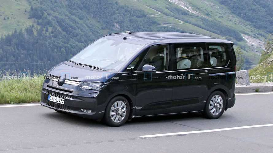 VW Transporter T7 spied almost camo-free testing with current model