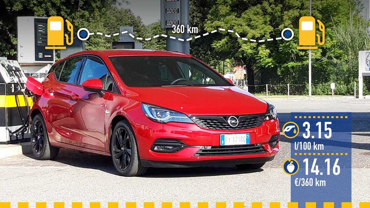 Opel Astra 1.5 diesel, la prova consumi