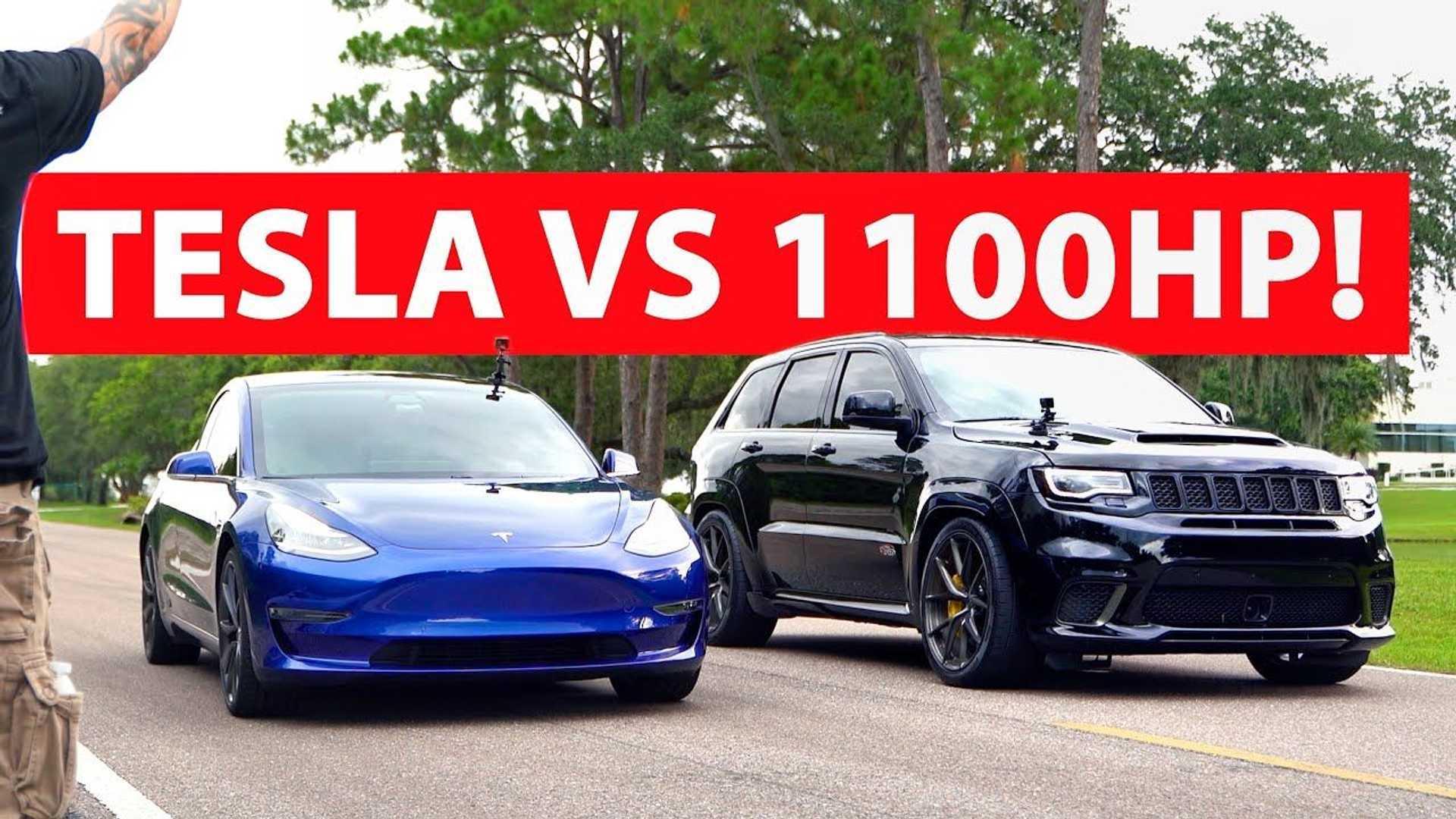 Watch Tesla Model 3 Race Tuned 1 100 Bhp Jeep Grand Cherokee Trackhawk