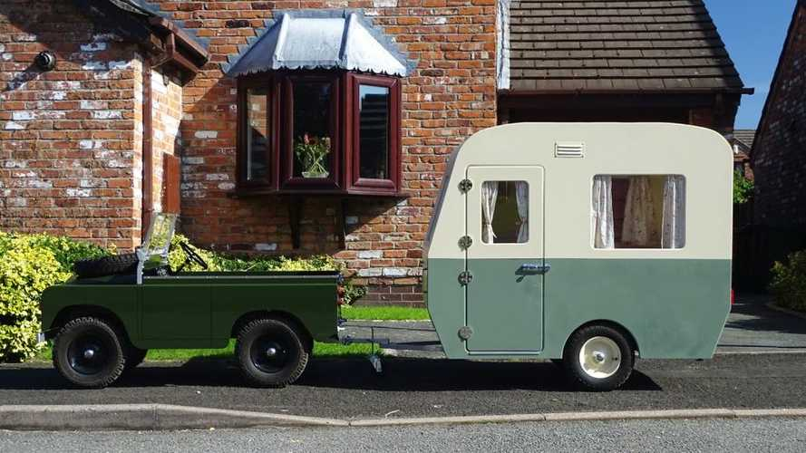 Miniature Land Rover, matching camper for sale couldn't be cuter