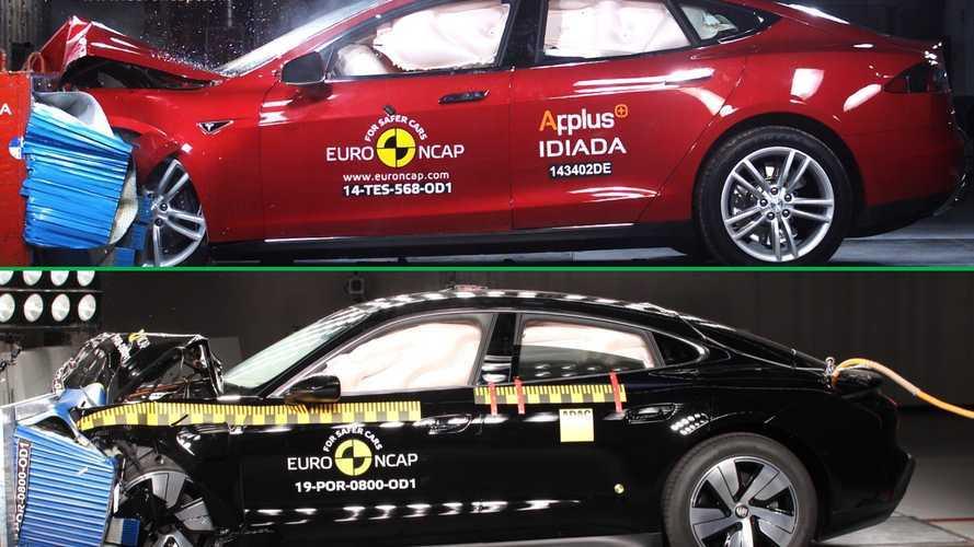 Porsche Taycan contro Tesla, sfida ai vertici anche per la sicurezza