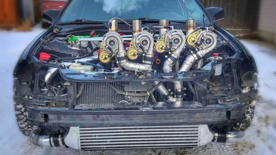Wild Honda Civic goes anywhere with four turbos and tank tracks