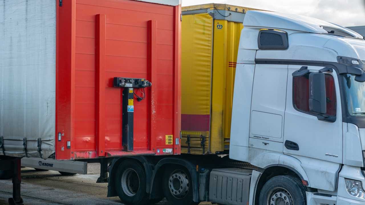 HGV lorry with a trailer parked in the port