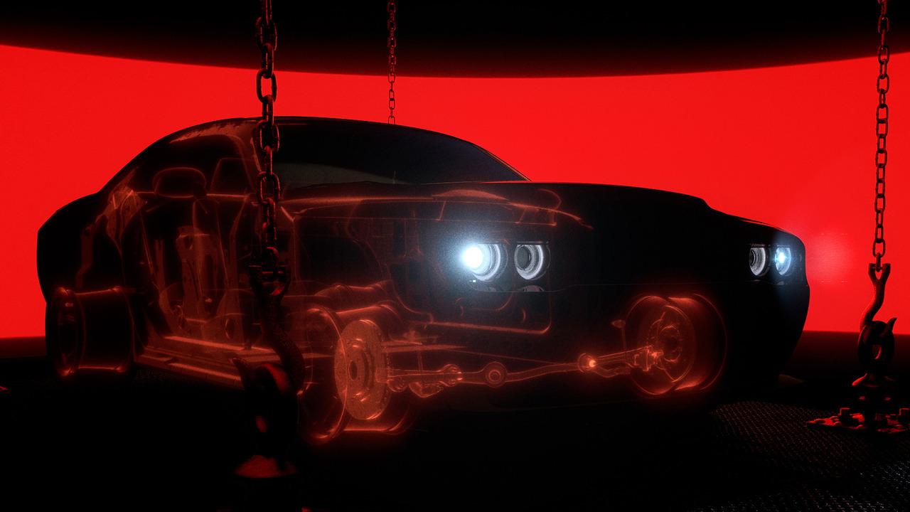 un'immagine in trasparenza della Dodge Challenger SRT Demon