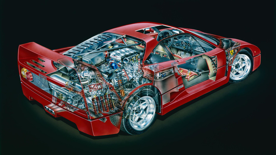 Ferrari F40 prototype cutaway sketch by David Kimble
