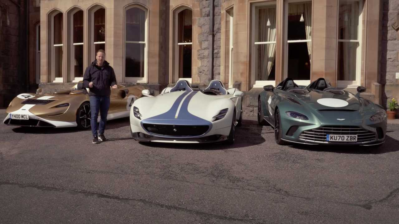 Ferrari Monza, McLaren Elva, Aston Martin Speedster Top Gear Review