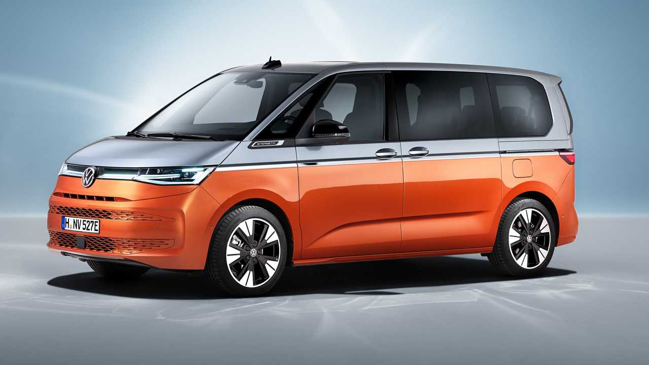 The 2022 VW T7 Multivan in profile view.