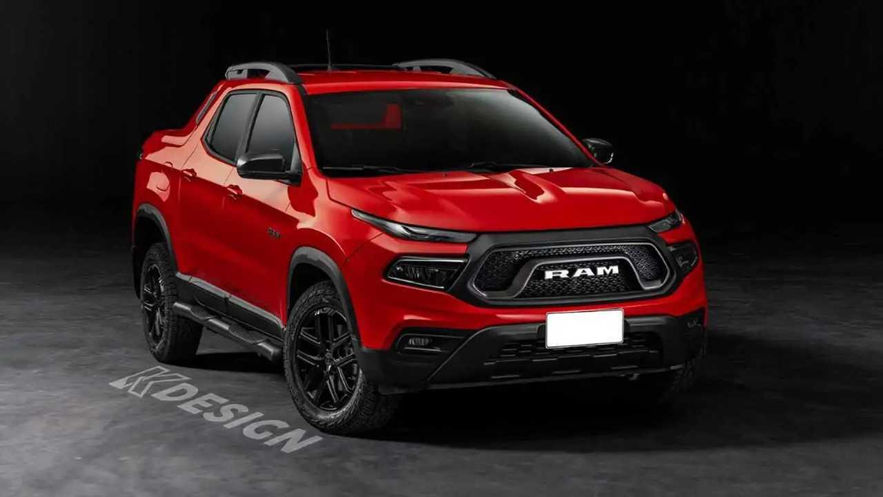 Rendering tidak resmi ini didasarkan pada Fiat Toro, dan menggambarkan seperti apa rupa truk Ram kecil.