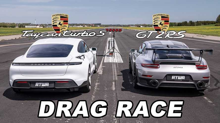 Porsche Taycan Turbo S Vs GT2 RS Drag Race Couldn't Have Been Closer