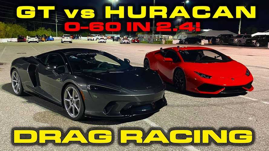 McLaren GT fights Lamborghini Huracan at drag strip