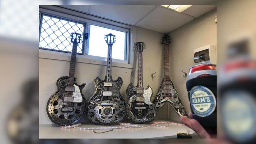 Metal Artist Builds Guitar Sculptures Out of Motorbike Bits