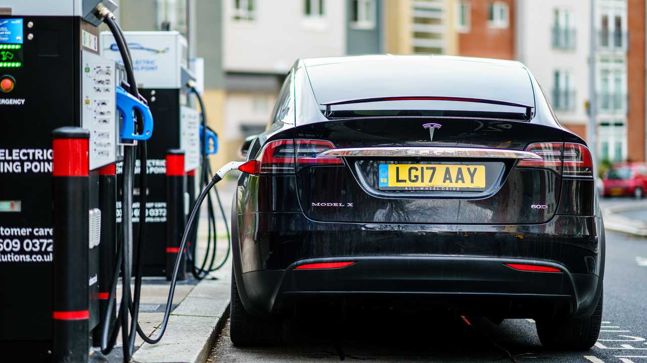 Tesla Model X charging on street in Coventry UK