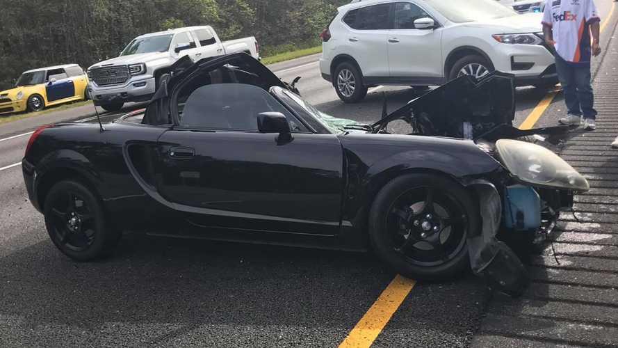 Toyota MR2 crashes into semi-truck