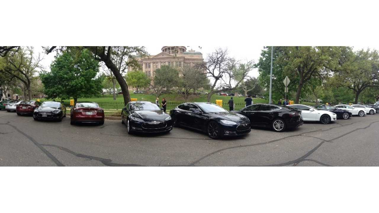 Tesla Owners Line Up Their Model S Sedans At The Texas Capitol In Support Of Hearing For HB 3351