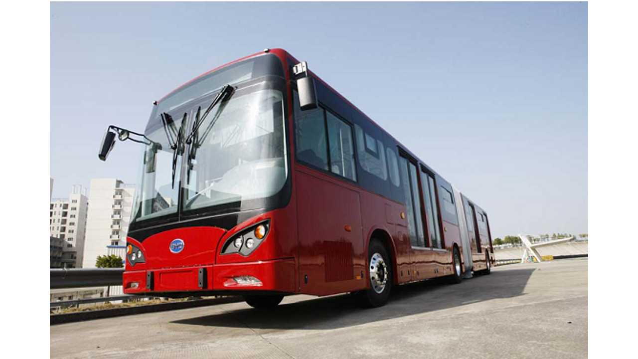 BYD Unveils 18 Meter Articulated Battery-Electric Bus (w/video)