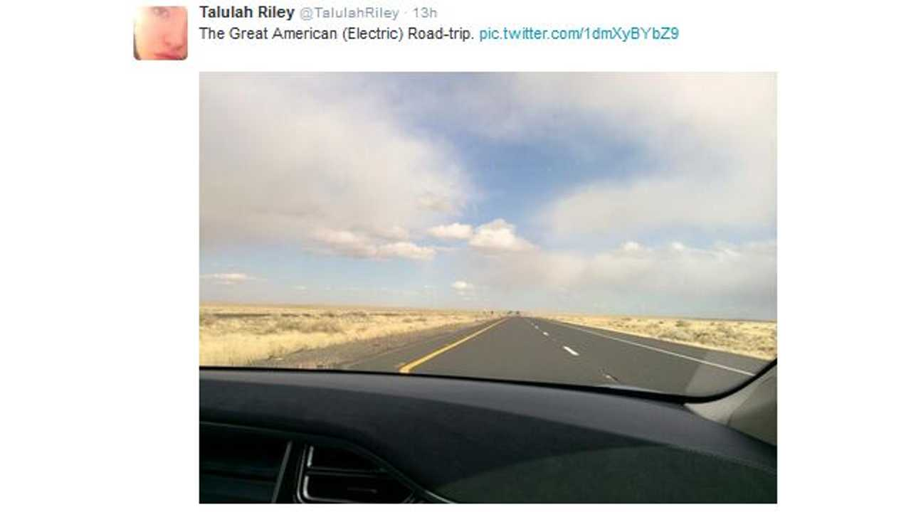 Talulah Riley Tweets Yesterday That The Road Trip Has Begun