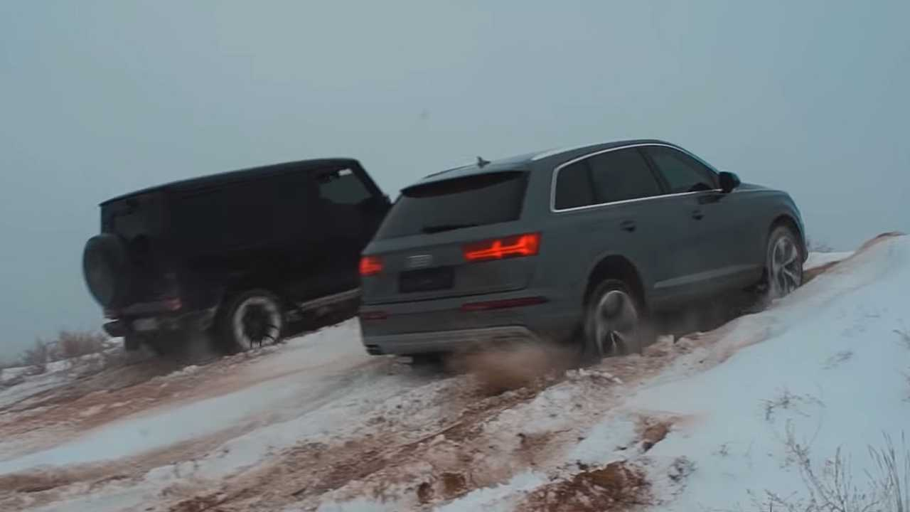 Watch Rugged And Luxury SUVs Race Up To Snowy Hill