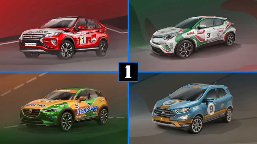 5 SUV de calle con decoraciones de carreras