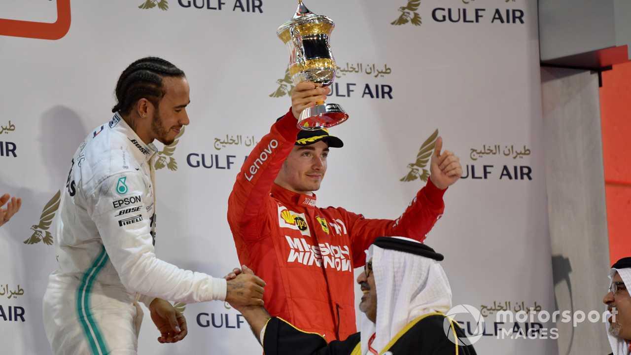 Charles Leclerc and Lewis Hamilton on podium of Bahrain GP 2019