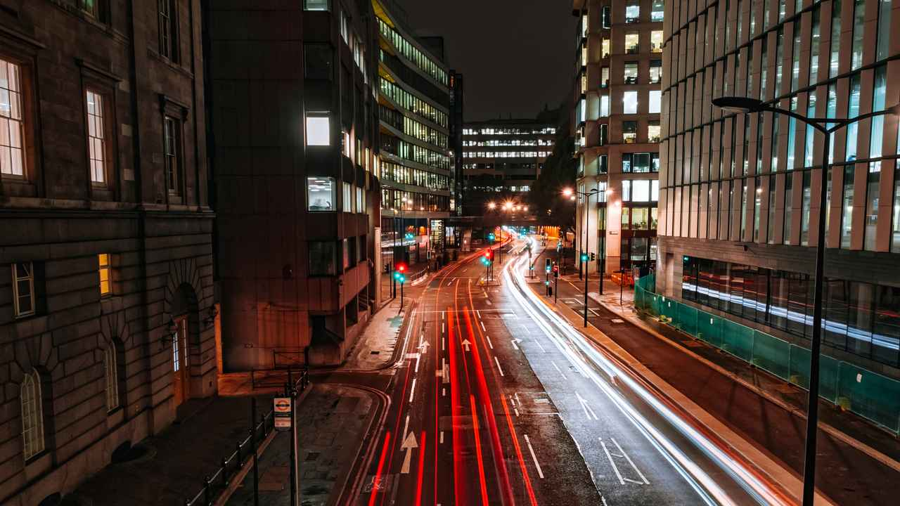 Traffic light trails near London Bridge