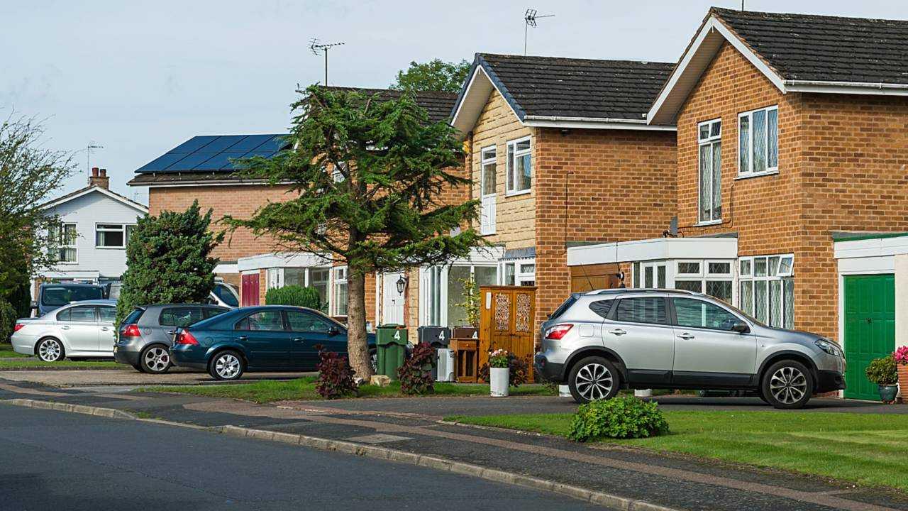 Driveways in UK suburban residential street
