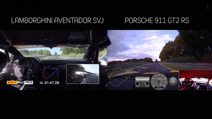 Lamborghini Aventador SVJ vs Porsche GT2 RS, il testa a testa al Nurburgring