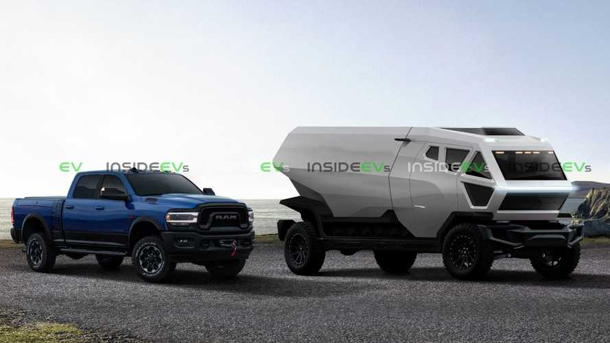 Tesla Truck Render With Ram Pickup