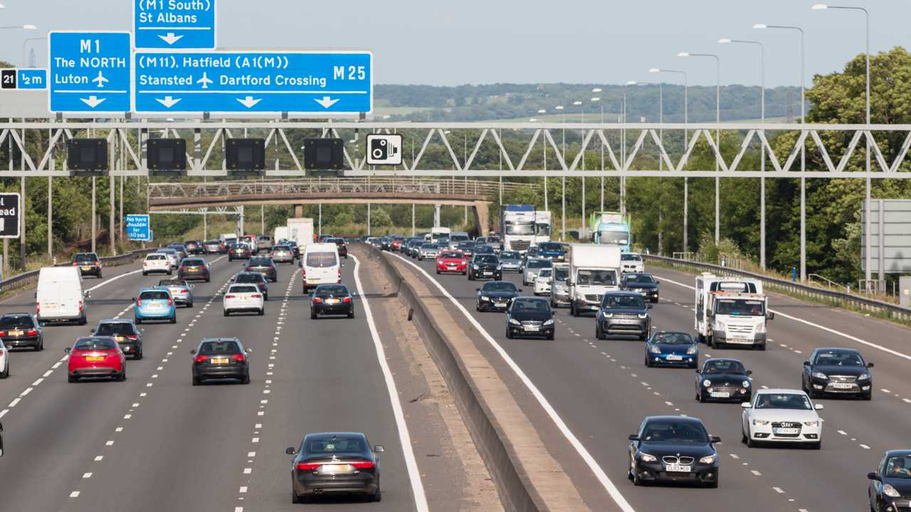 Evening traffic on the busiest British motorway M25