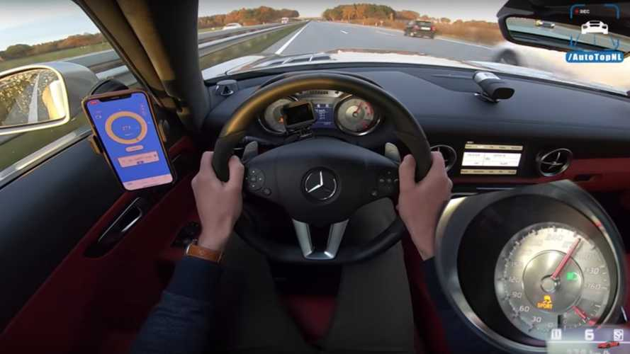 Mercedes SLS AMG with 1,025 bhp eats miles on the Autobahn