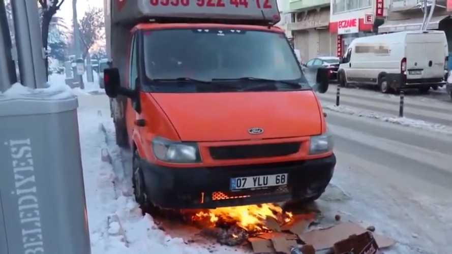 Ford Transit cold engine start problem solved by building fire