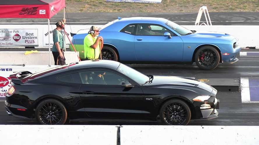 Dodge Challenger Scat Pack 1320 Drag Races Ford Mustang GT