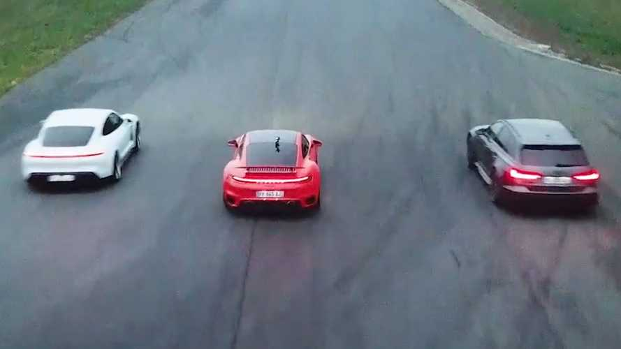 Drag Race Trio VW Group: Porsche Taycan, Porsche 911 Turbo S, Audi RS6
