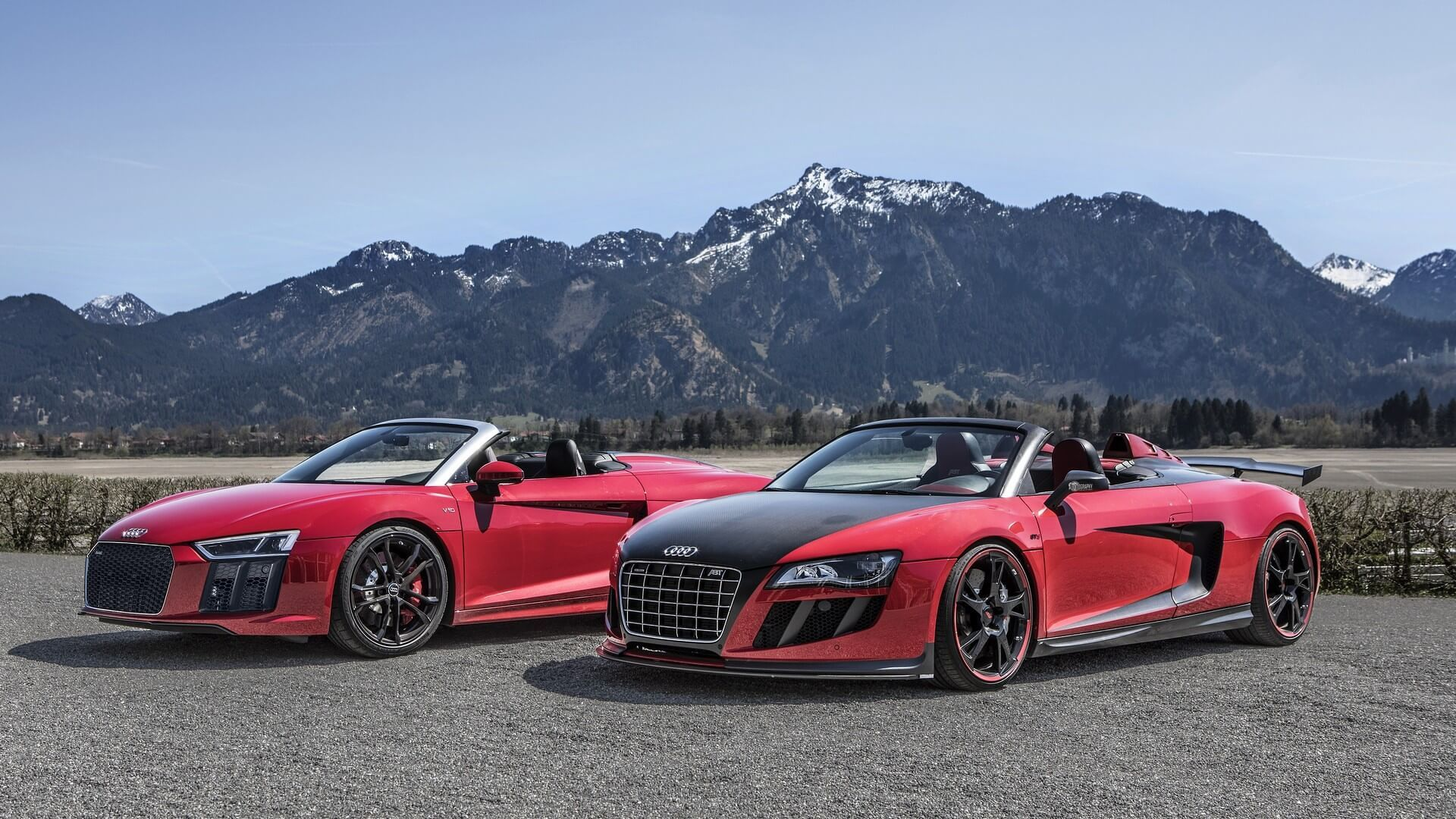 Spyder Invasion In The Alps Audi R8 Rws Meets The R8 Gt S By Abt