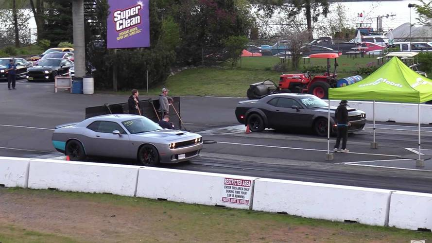 Watch Dodge Demon And Hellcat Go Head-To-Head On The Drag Strip
