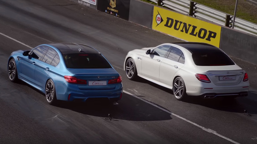 People Can't Stop Drag Racing New BMW M5 Against AMG E63 S