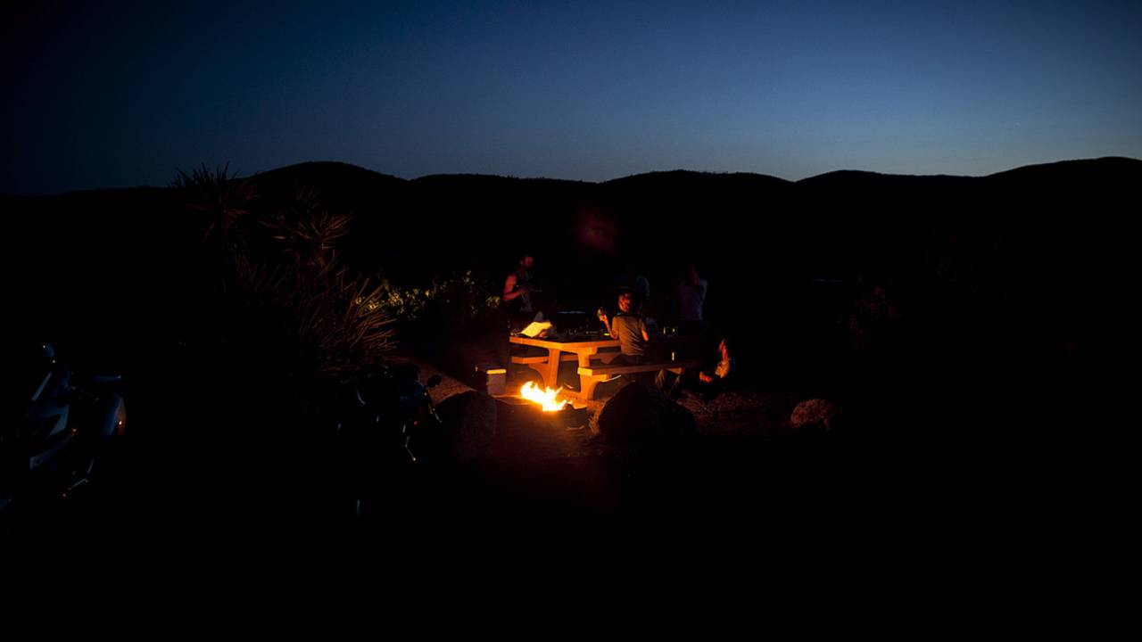 Camping with buddies in Joshua Tree