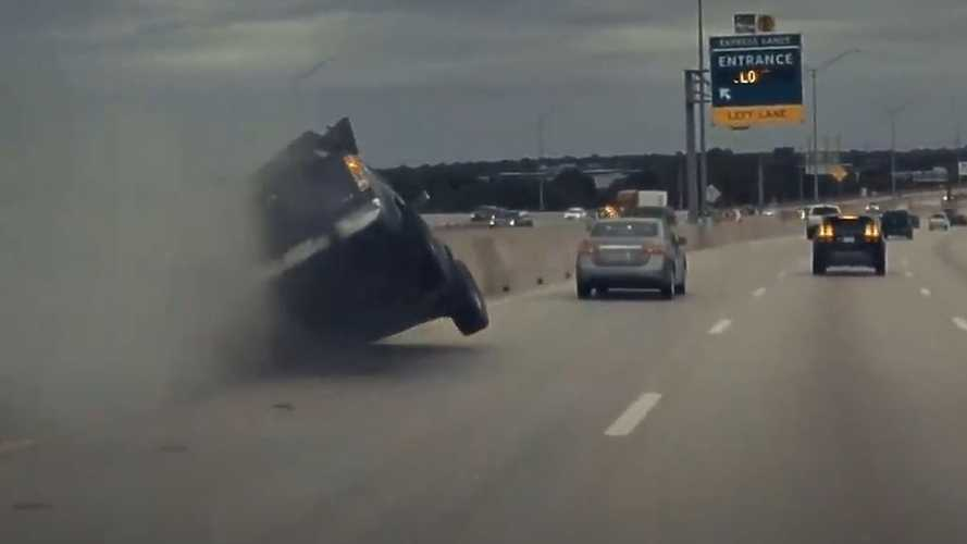 Tesla Model Y sends pickup truck flying: Driver is okay, but busted