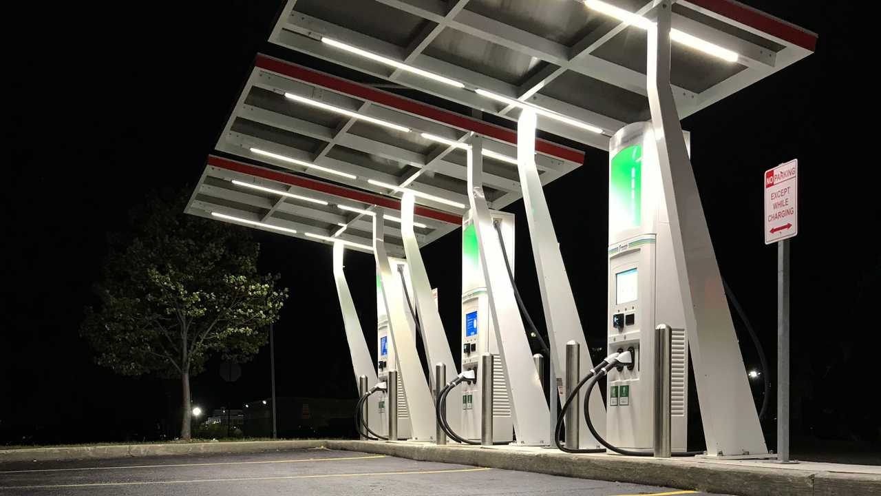 Electrify Canada charging station with overhead canopy